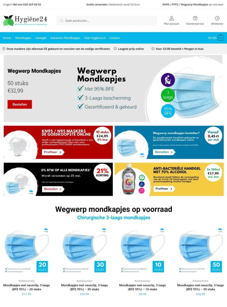 webdesign, SEA en marketing case Hygiëne24